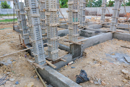 cement pouring structure at construction house photo