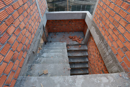 residential construction: staircase in residential building construction site