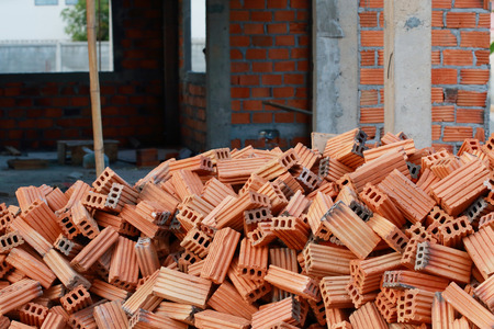 brick blocks in residential building construction photo