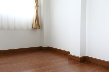white wood floor: white mortar wall and wood floor in the room Stock Photo
