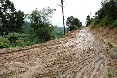 road wet muddy of backcountry countryside photo