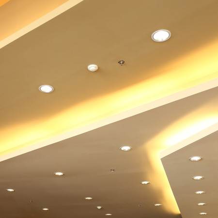 interior of light on ceiling modern design with sprinkler fire system
