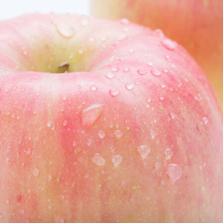 apple fuji fruit with water drops Stock Photo