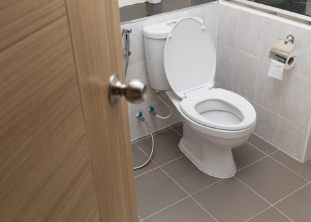 white flush toilet in modern bathroom interior Standard-Bild