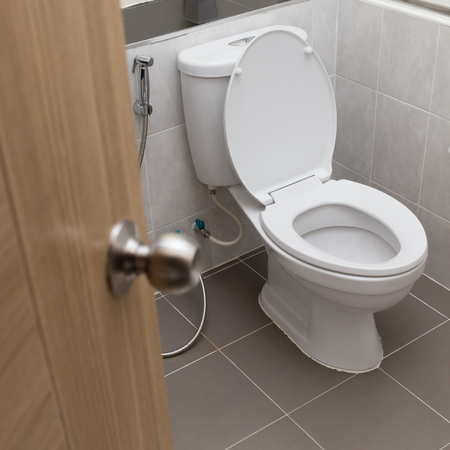 white flush toilet in modern bathroom interior photo