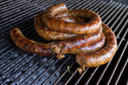 smoked sausage: grill smoked sausage, food of northern thailand