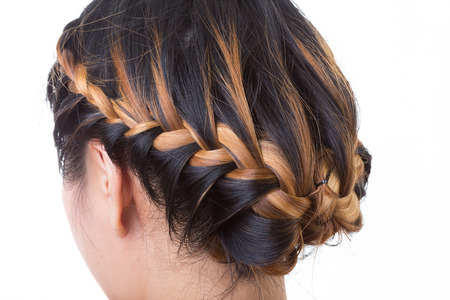 long hair braid style isolated on white background photo