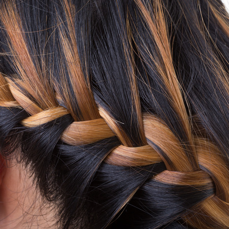 braid long hair style on woman head photo