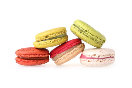 colorful macaron sweet tasty dessert isolated on white background photo