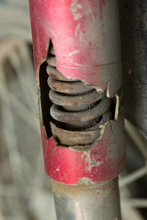 absorber: motorcycle shock absorber rusty crack broken