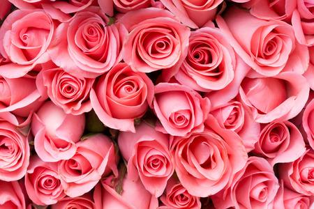 ピンクのバラの花の花束背景 写真素材