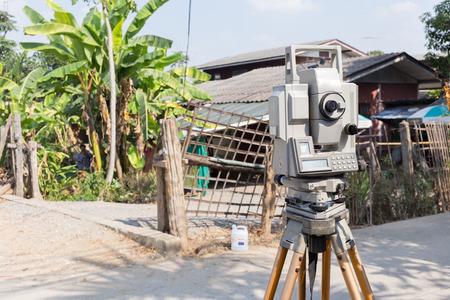 transit: tool of surveying measuring equipment level transit for engineer Stock Photo