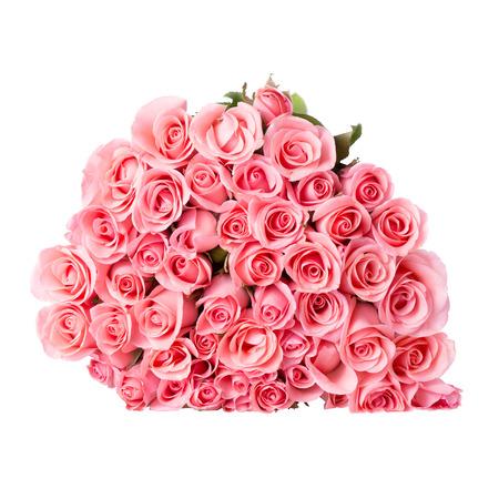 白地にピンクのバラの花の花束 写真素材 - 40517084