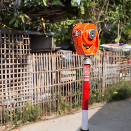 surveying: tool of surveying measuring equipment level transit for engineer Stock Photo