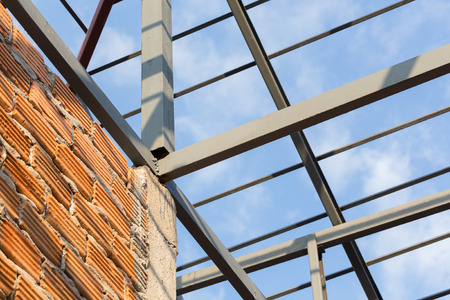 Steel Beams Roof Truss Residential Building Construction Industry Photo
