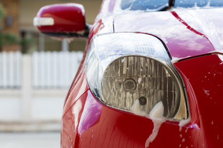 wash: car wash with soap, car cleaning service Stock Photo