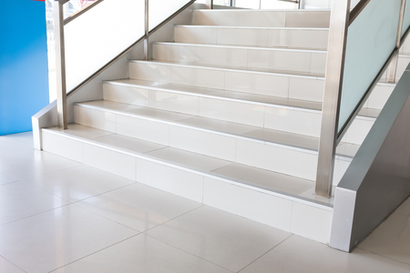 metal handrail: white stairs in modern business office