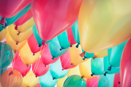 birthday celebration: colorful balloons with happy celebration party background Stock Photo
