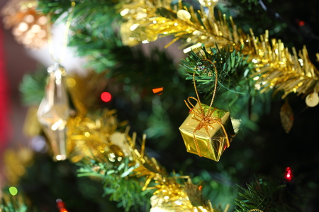 christmas tree decoration: christmas tree decoration in home, closeup ornament of christmas