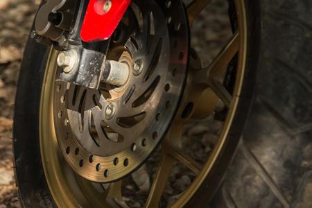 brakes: detail of motorcycle disc brakes, close up image
