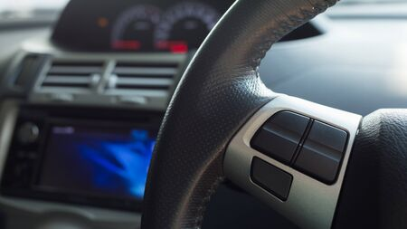 blank button: blank button control system on car steering wheel used for placed icon Stock Photo