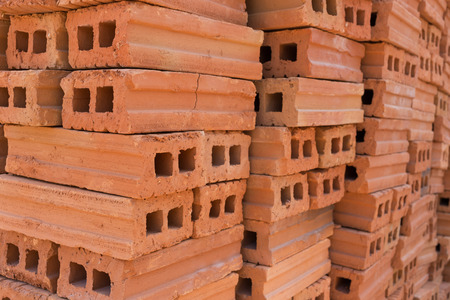 residential construction: pile of brick block used for industrial in residential building construction site