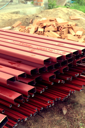 rustproof: pile of steel bar for building construction, image used filter vintage Stock Photo