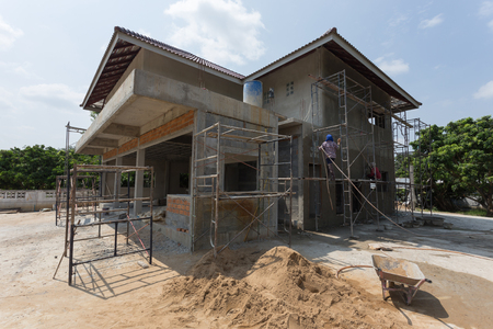 steel: building residential construction house with scaffold steel for construction worker