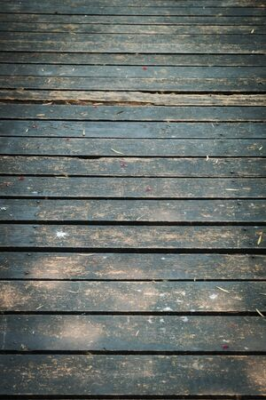 walkway: old wooden walkway with falling leaves in the morning of autumn seasonal