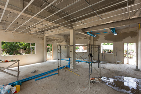residential: construction site building with cement material structure Stock Photo