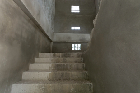 residential construction: staircase cement concrete structure in residential house building of construction industry Stock Photo
