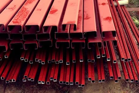 steel bar: pile of steel bar for building construction, image used filter vintage Stock Photo