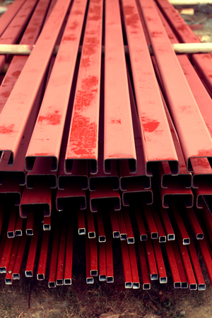 pile of steel bar for building construction, image used filter vintage Stock Photo