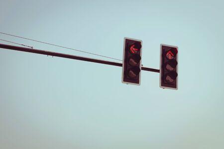 trafficlight: traffic light red with vintage sky background
