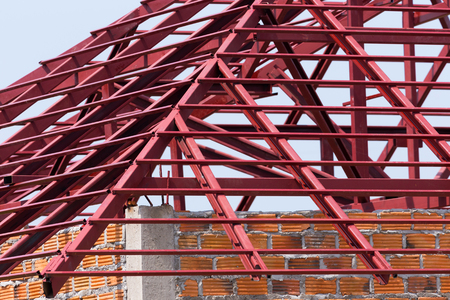structural steel: structural steel beam on roof of building residential construction Stock Photo