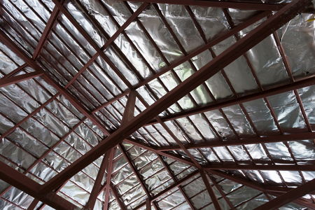 roof beam: roof with steel beam and silver foil insulation heat on ceiling roof house