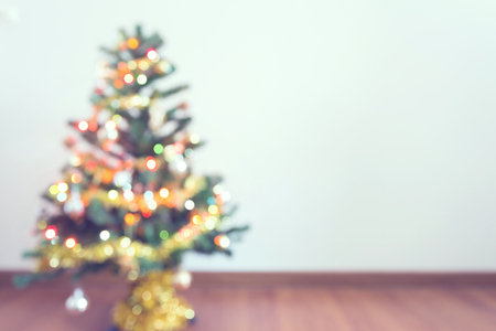 beautiful tree: blur light celebration on christmas tree in empty room