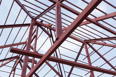 residential construction: structural steel beam on roof of building residential construction Stock Photo