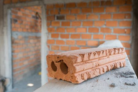 residential construction: brick block material used for industry in residential building construction site