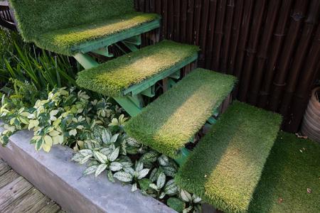 groen gras trap in de tuin, onder decoratie thuis tuin