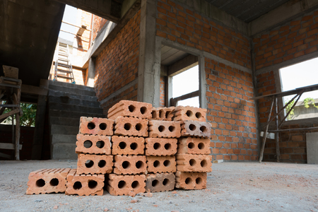 housebuilding: brick block used for industrial in residential building construction site