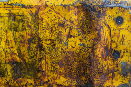 stainless steel sheet: yellow metal rusty corroded texture, grunge background