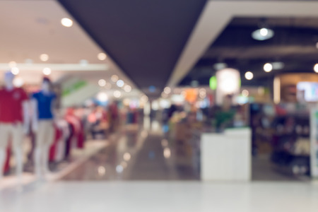 retail: department store shopping mall, image blur defocused background Stock Photo