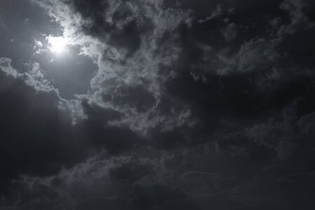 light ray: sunbeam through the clouds of sunlight in blue sky background