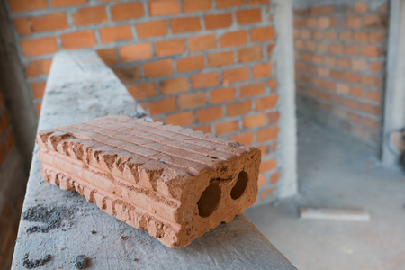 housebuilding: brick block material used for industry in residential building construction site