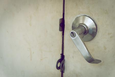 door handle: metallic steel knob door handle lock the old white door