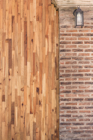 wooden surface: wood and cement brick wall design of interior home