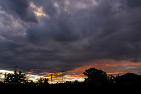 weather front: rain cloud thunderstorm dramatic twilight sky background