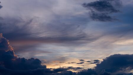 cloudy moody: twilight blue sky with cloudy, beautiful dramatic moody sky background Stock Photo