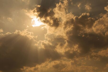 dramatic clouds: sunbeam through the clouds of sunlight in blue sky background